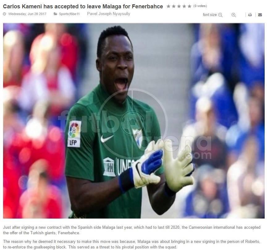 Son dakika: Carlos Kameni Fenerbahçe'de ile ilgili görsel sonucu