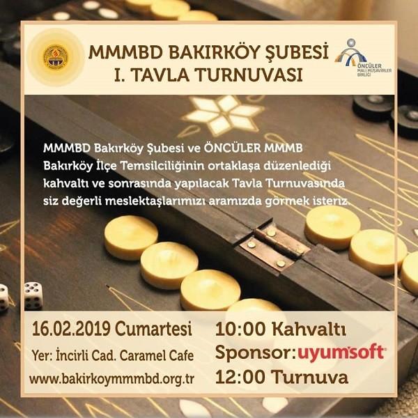 MMMBD Bakırköy Şubesi 1. Tavla Turnuvasına