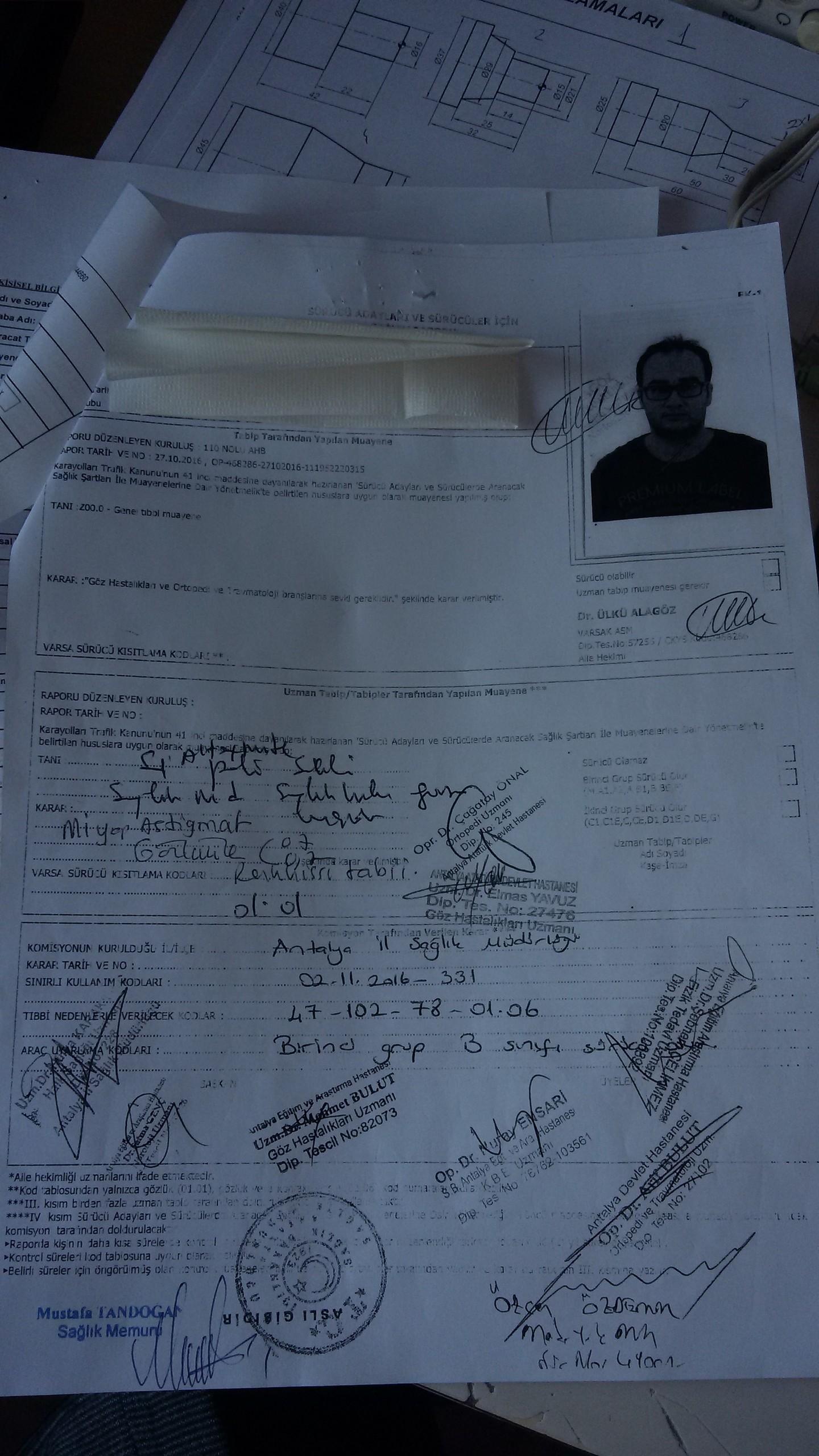 r6978P - H sınıfı sürücü belgesi ve ÖTV'siz araç alımı için rapor paylaşımları