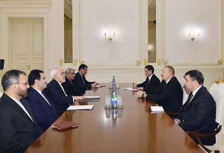İlham Əliyev İranın xarici işlər nazirinin başçılıq etdiyi nümayəndə heyətini qəbul edib