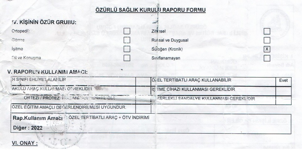 rMg9dP - H sınıfı sürücü belgesi ve ÖTV'siz araç alımı için rapor paylaşımları