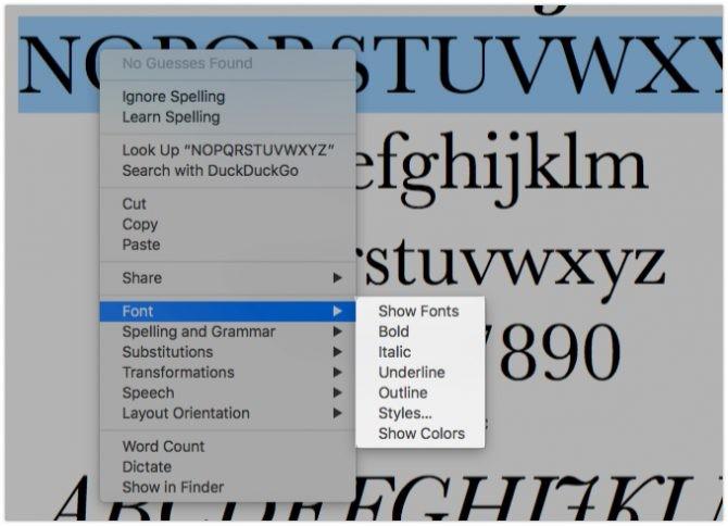 mac yazı tipini özelleştir