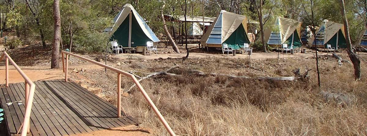 çalılık alanda kamp