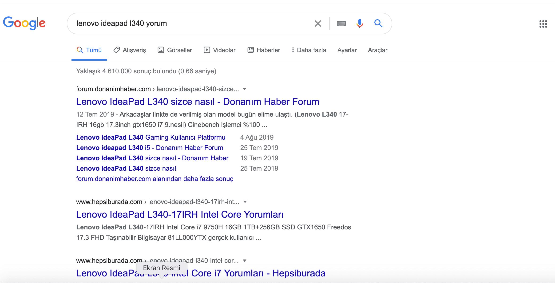 Google'da bilgisayar kronik sorun ve kullanıcı yorumlarını öğrenmek için örnek