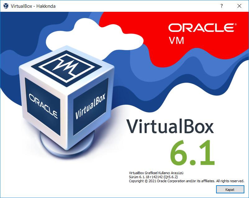 VirtualBox 6.1.24 Build 145767   (x64)   Extension Pack   Katılımsız