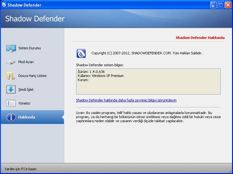 Shadow Defender 1.4.0.672   EN-TR   Katılımsız