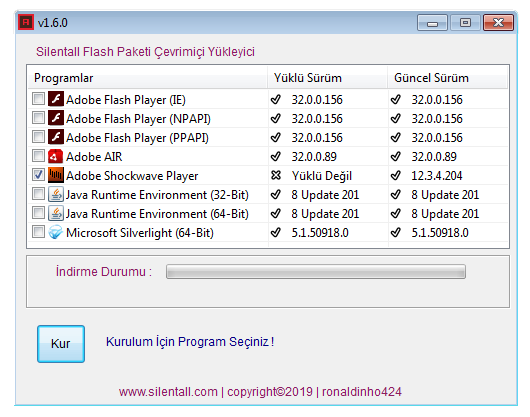 Silentall Flash Paketi Çevrimiçi Yükleyici v1.6.0