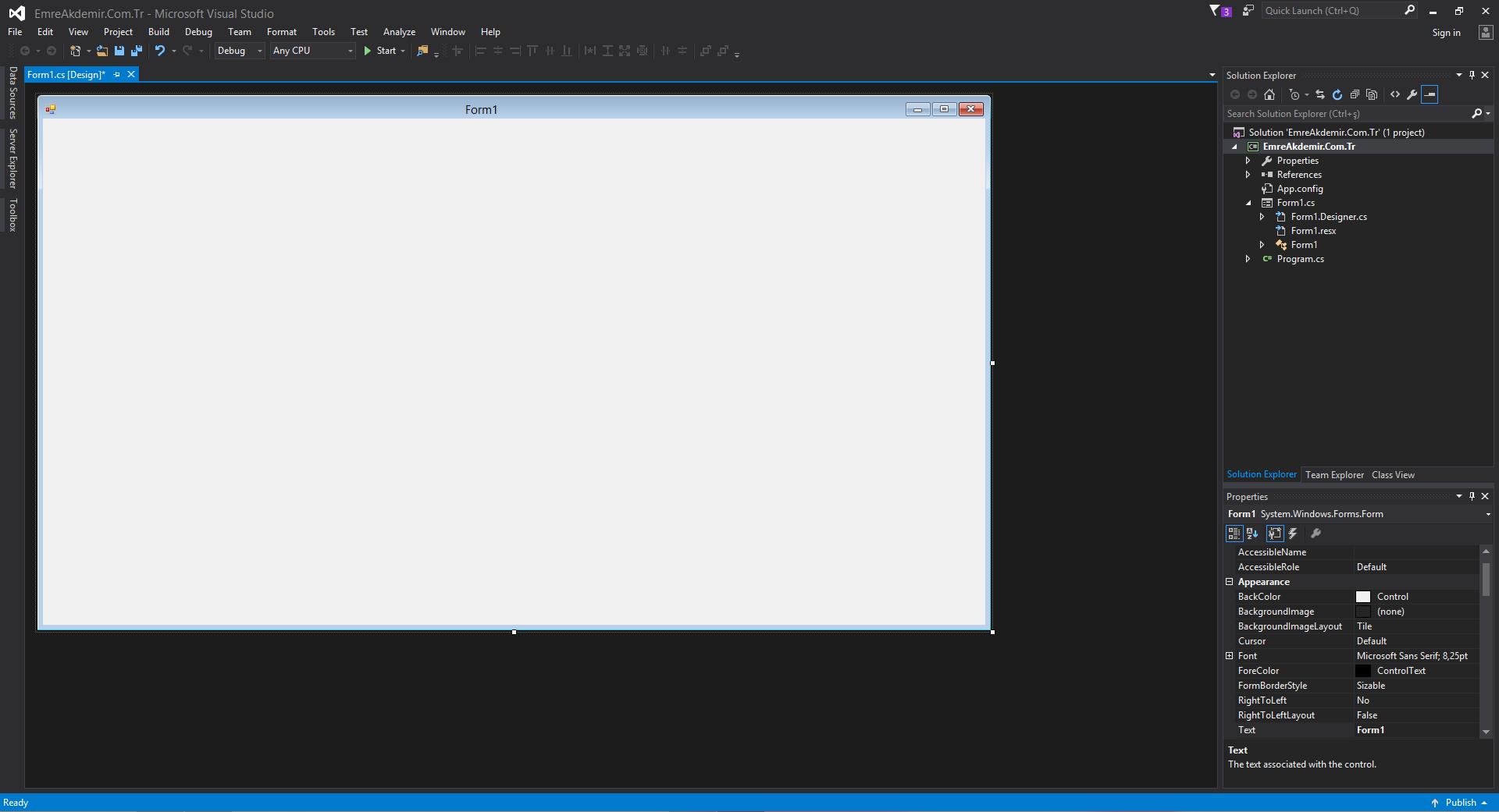 Visual Studio Açılış Sayfası