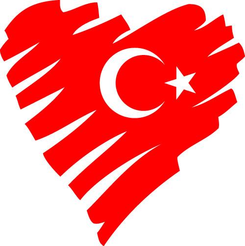 Kalp Şeklinde Türk Bayrağı Vektör