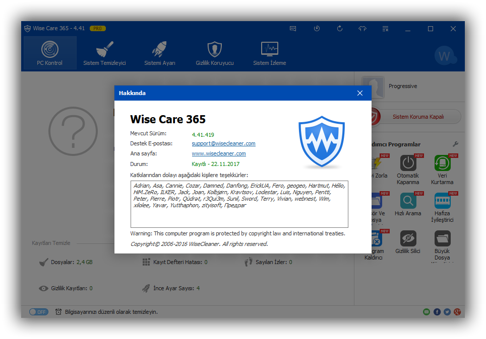 WiseCare365 Pro 4.73 Build 456 | Katılımsız