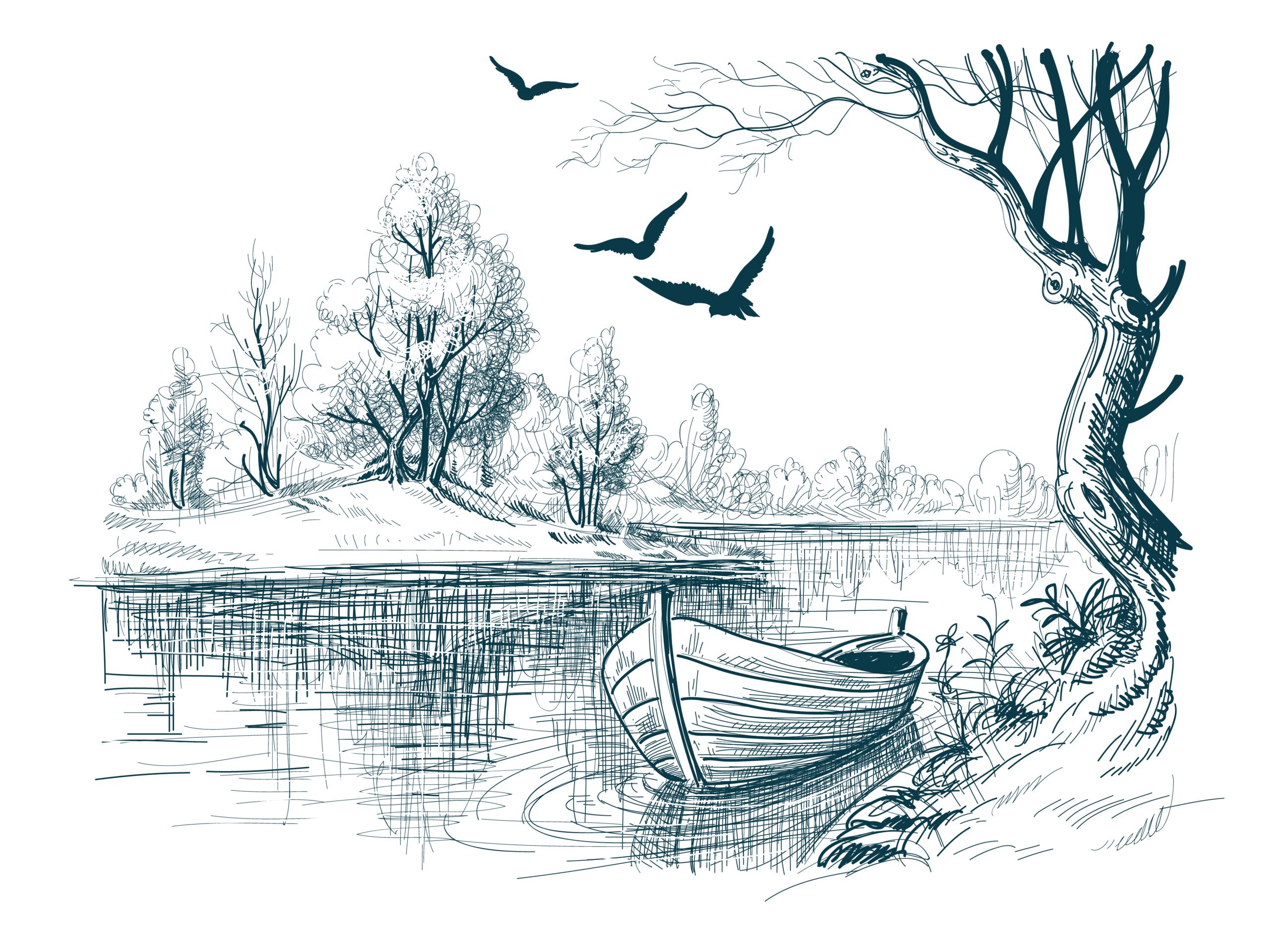 Göl ve Tekne vektörel çizim