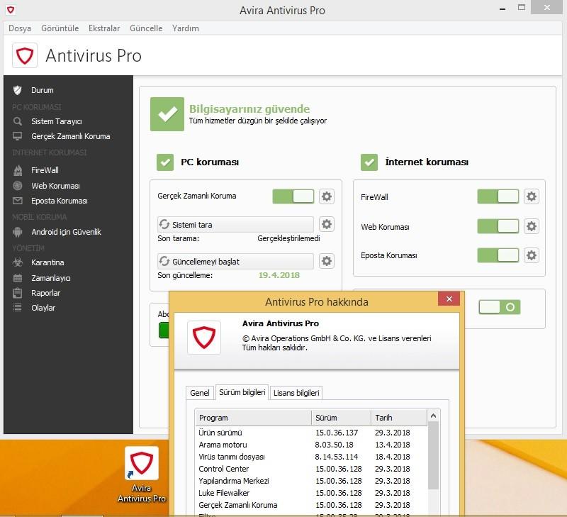 Avira Antivirus Pro 15.0.36.137 Türkçe | Katılımsız