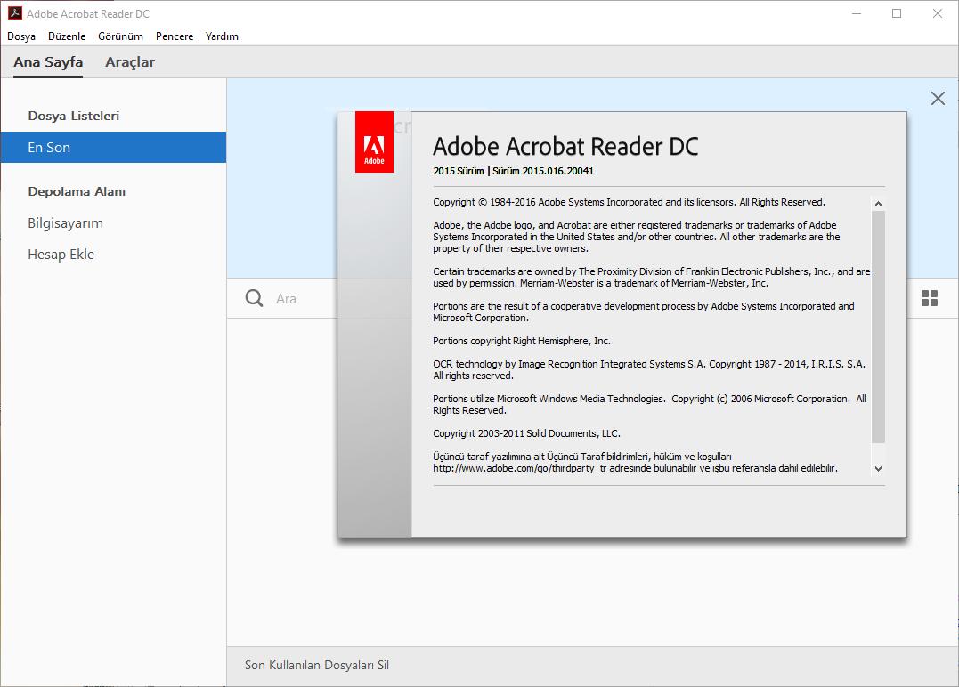 Adobe Acrobat Reader DC 2015.016.20041 TR | Katılımsız