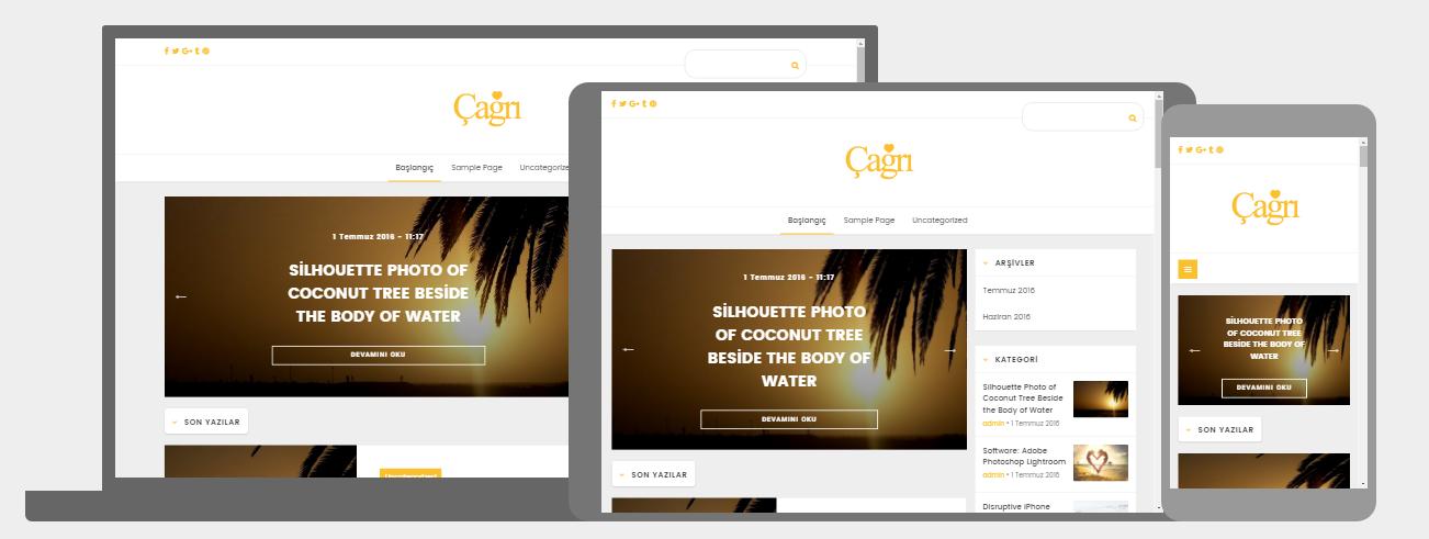WordPress Cagri  Responsive Mobil Uyumlu Blog Teması Ücretsiz