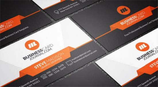 Stylish Orange Accent Business Card Template