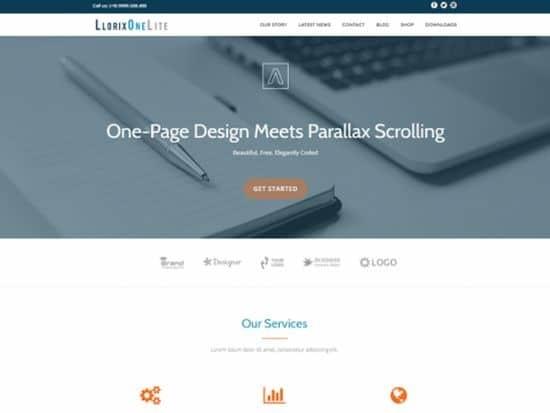 Llorix One tek sayfa ücretsiz WordPress Teması